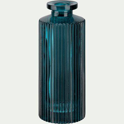 Vase en verre bleu H13cm-Elasa