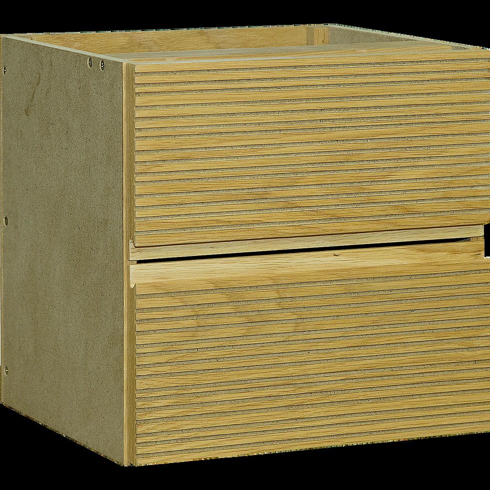 Bloc de 2 tiroirs striés format carré en chêne clair-FINE
