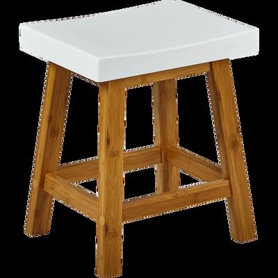 Tabouret bicolore bois et blanc mat - H45cm-BULUH