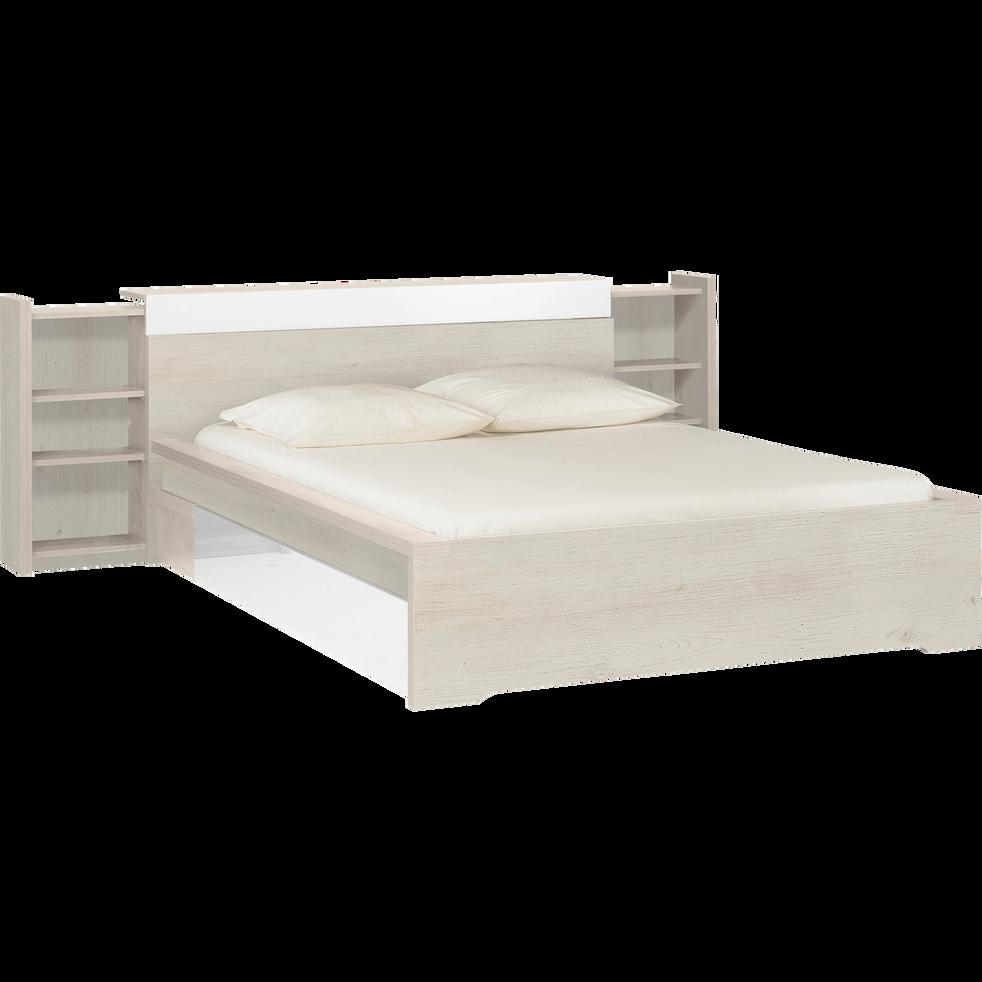 Lit 2 places avec tête de lit cerisier blanchi - 140x200 cm-BROOKLYN