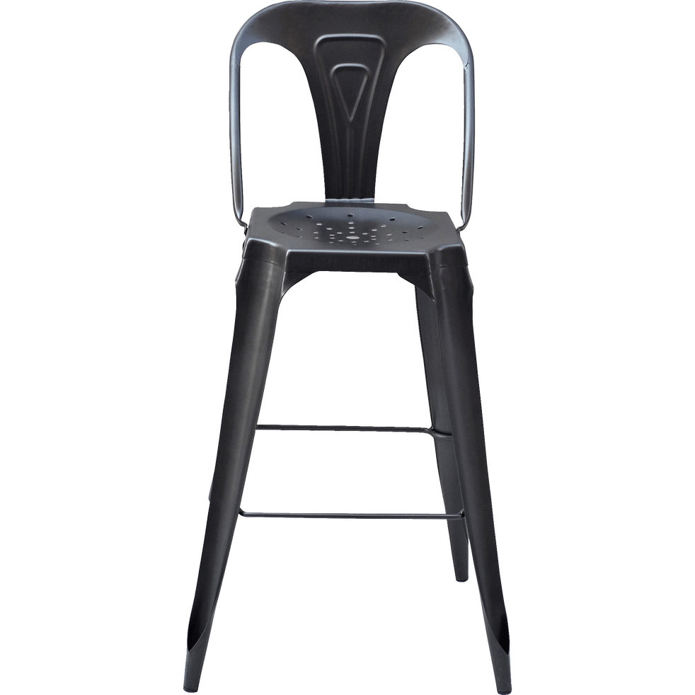 Chaise de bar vintage en métal gris anthracite - H106cm-INDUS