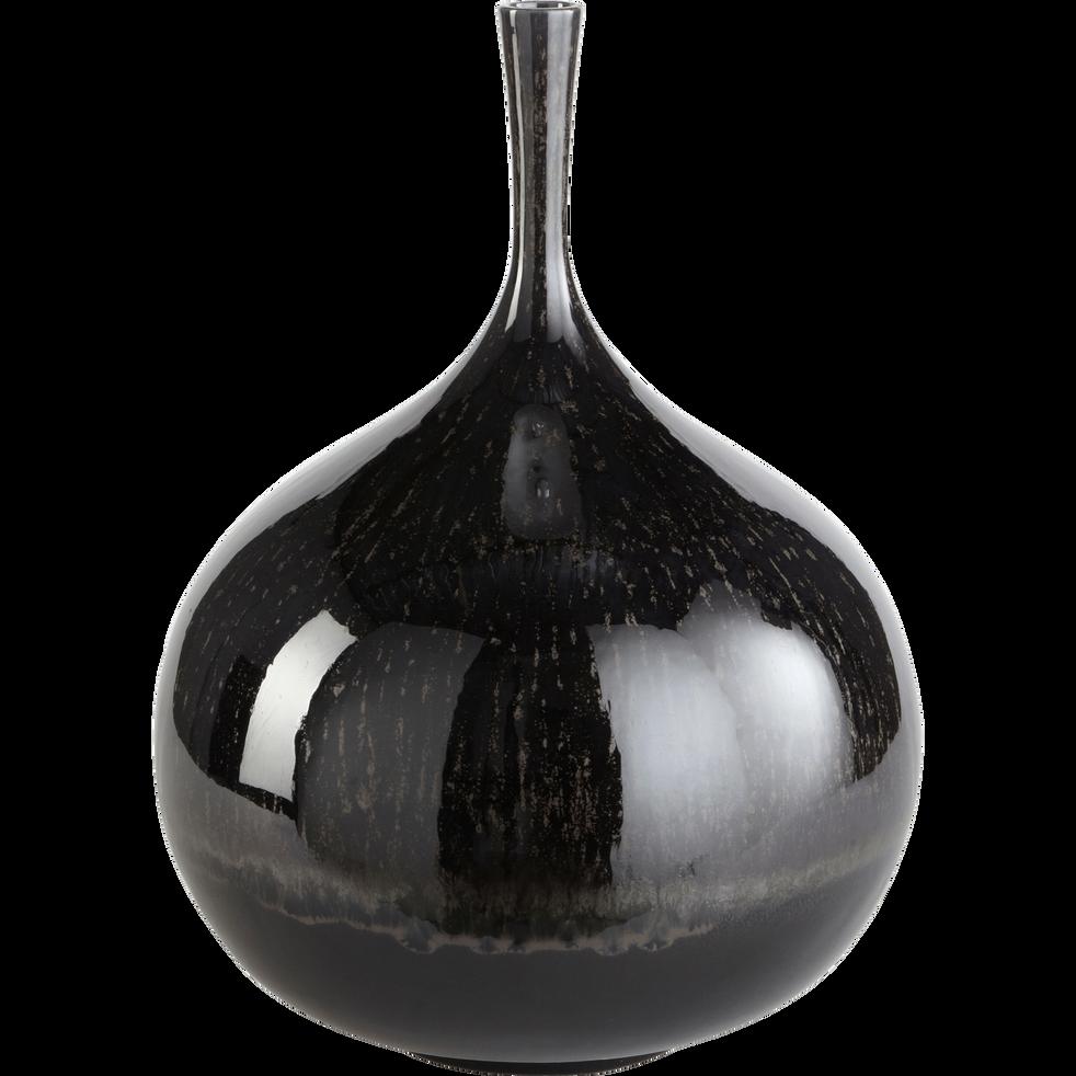 Vase en céramique noir H42cm-PIVOINE