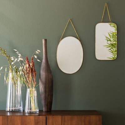 Miroir à chaînette en laiton - doré 18x31,5cm-BRIGITTE