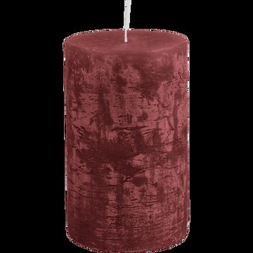 Bougie cylindrique rouge sumac D7xH11 cm-BEJAIA
