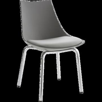 Chaise grise avec piètement métal chromé-JOY