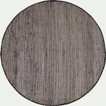 Tapis rond en coton recyclé et jute - noir D160cm-lieto