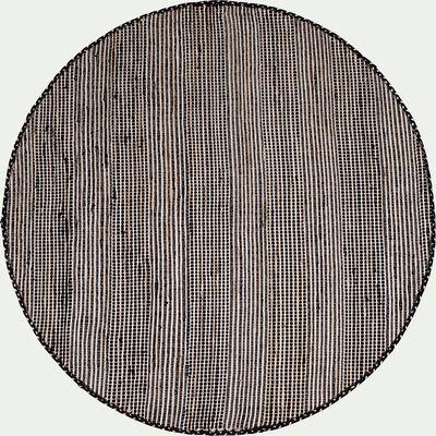 Tapis rond en coton de t-shirt recyclé et jute - noir D160cm-lieto