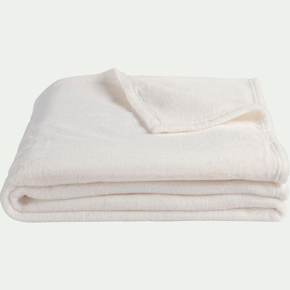 Plaid effet polaire en polyester - blanc ventoux 180x220cm-ROBIN