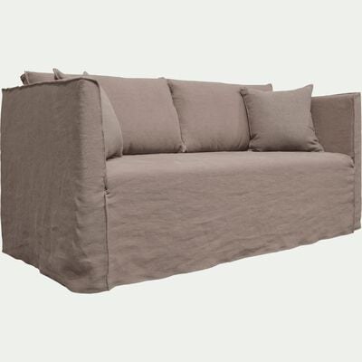 Canapé 3 places fixe en lin gris borie-VENCE