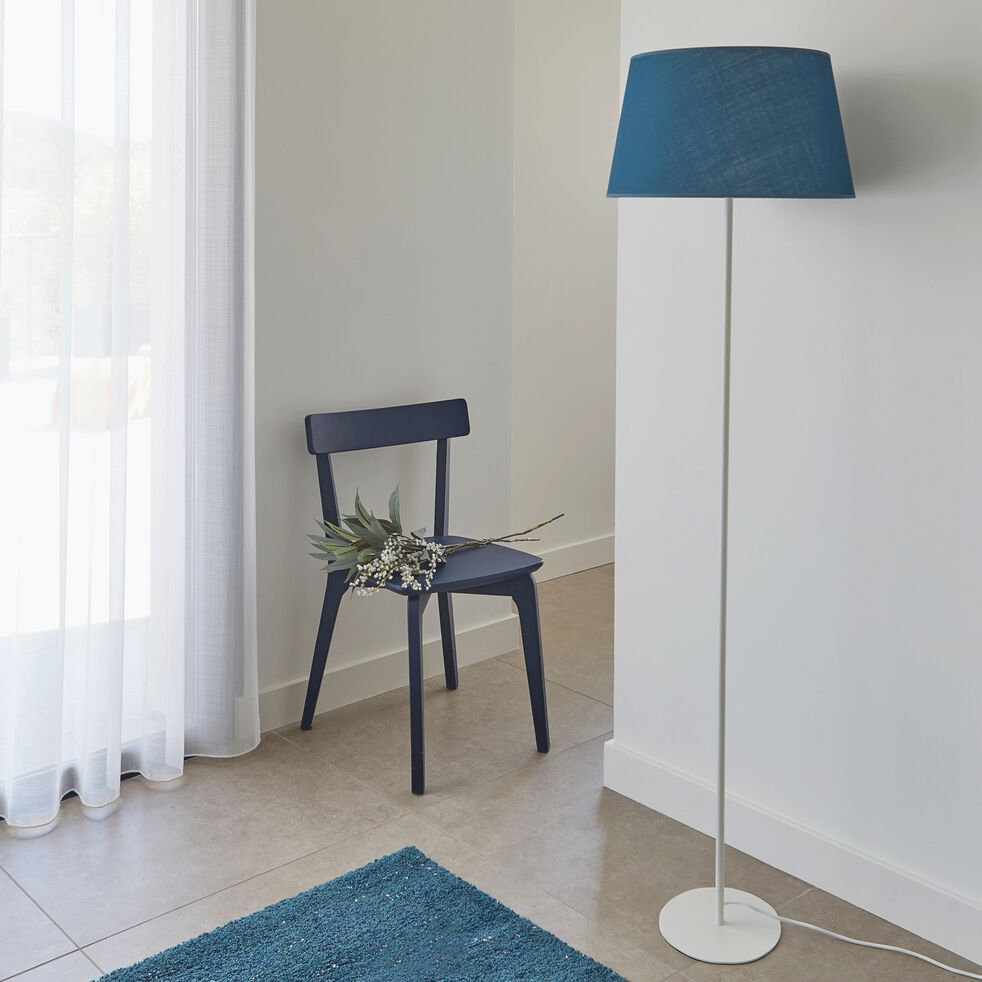Abat-jour tambour en coton - D23cm bleu figuerolles-MISTRAL