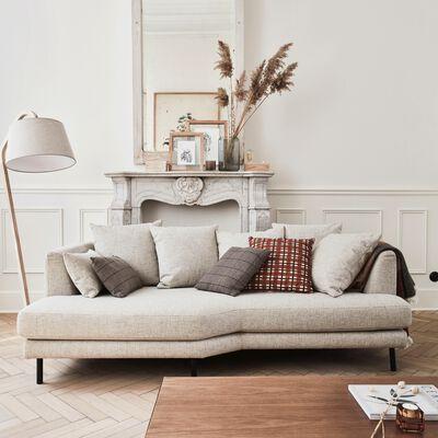 Canapé 3 places fixe gauche en tissu beige roucas-TESSOUN
