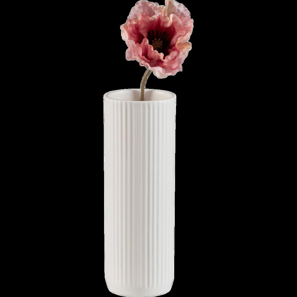 Vase en céramique blanc D10xH28cm-RETA