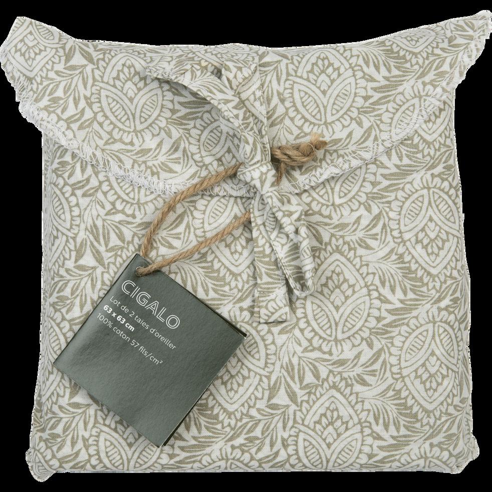 Lot de 2 taies d'oreiller en coton motif Amande - carré 63x63 cm-CIGALO