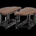 Table basse ronde modulable coloris noyer-AGIERO