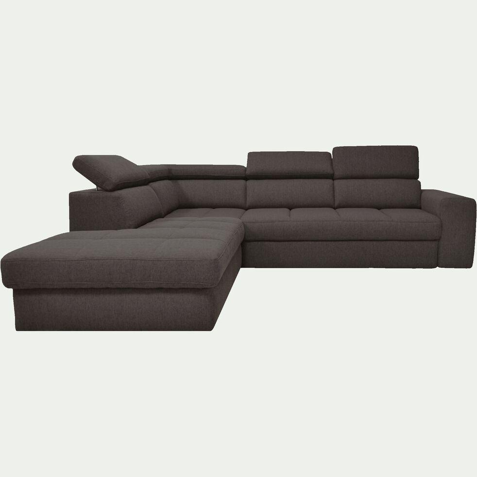 Canapé d'angle gauche panoramique convertible en tissu gris anthracite-TONIN