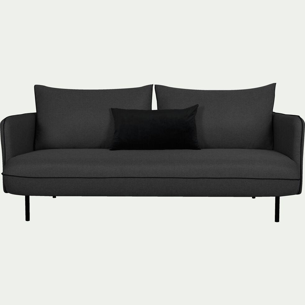 Canapé 3 places fixe en tissu - gris calabrun-SAOU