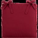Galette de chaise carrée en coton rouge sumac 38x38cm-BORMES