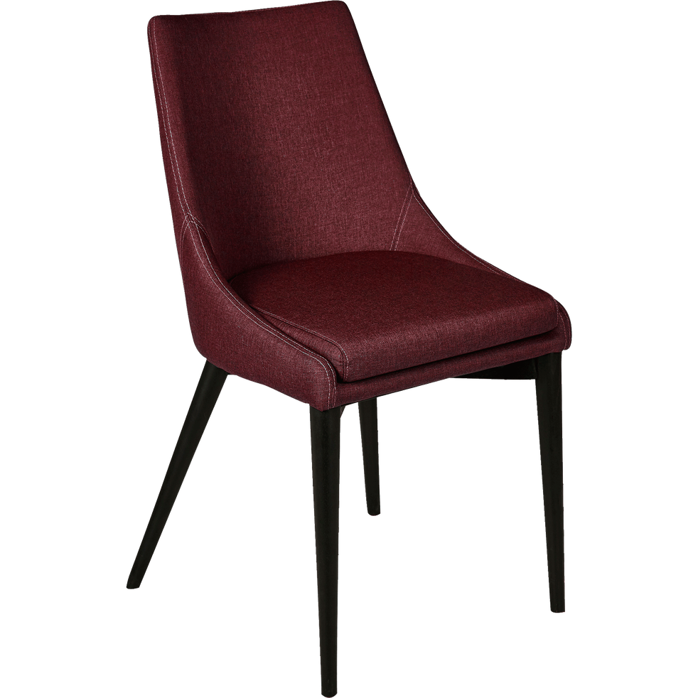 Chaise en tissu rouge sumac pieds noirs-ABBY