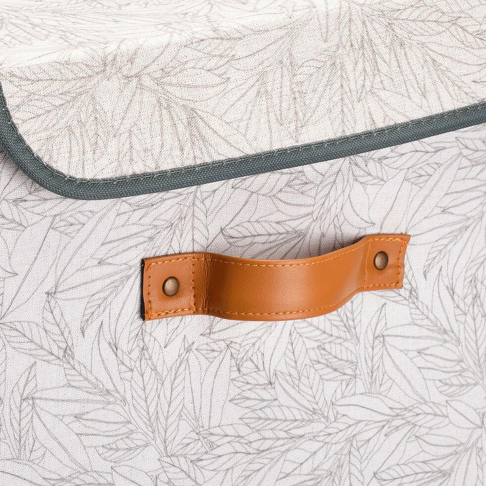 Panier à linge en lin motif laurier - blanc H60cm-ERRO