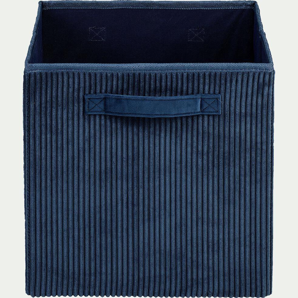 Panier de rangement en velours côtelé - bleu H30xL30cm-Vela