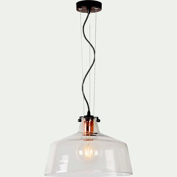 Suspension style industriel en verre et cuivre D30cm-VITRI