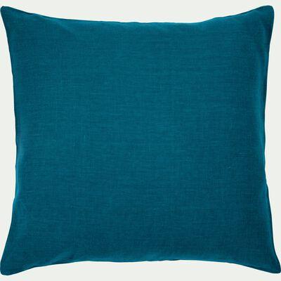 Coussin de sol en lin lavé - bleu figuerolles 70x70cm-VENCE