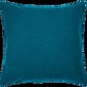 Coussin de sol en lin lavé bleu figuerolles 70x70cm-VENCE