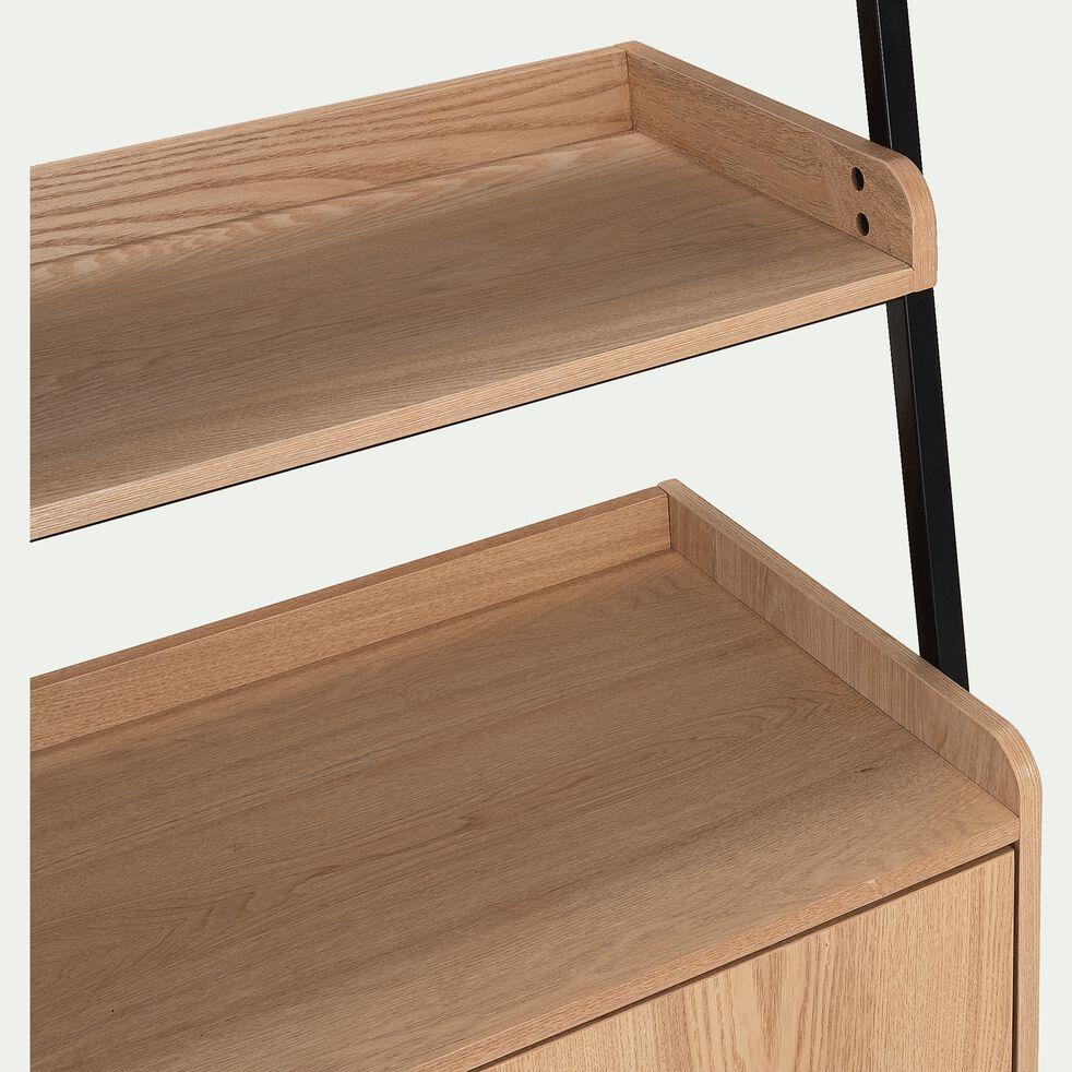 Etagère 3 tablettes et caisson plaquée frêne et métal noir L80cm-ESTANIER