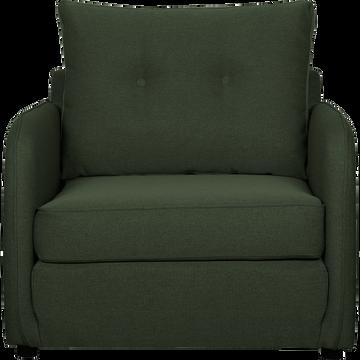 Fauteuil convertible déplimousse en tissu vert cèdre-VINYL