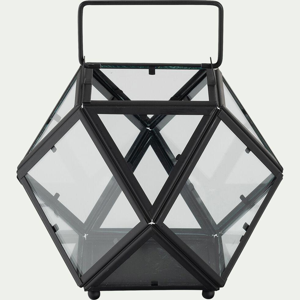 Lanterne graphique en verre - noir D21xH16cm-ALATA