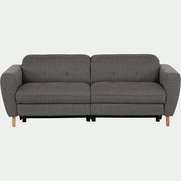 Canapé relax 3 places en tissu avec têtière réglable - gris-ODYS
