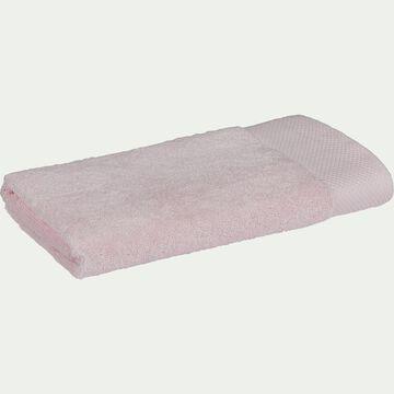 Serviette de bain en coton peigné - rose simos 50x100cm-AZUR