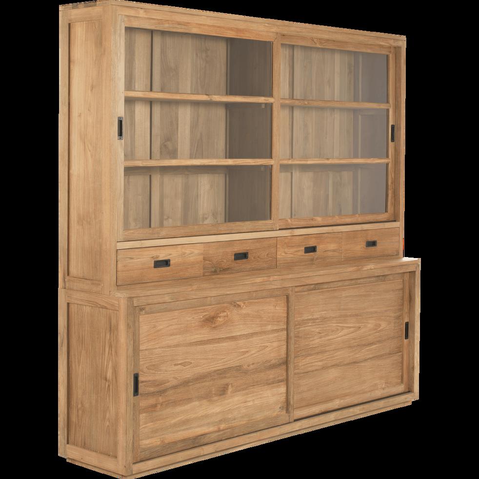 Vaisselier en teck avec portes, tiroirs et vitrine - Livré monté-EMOTION