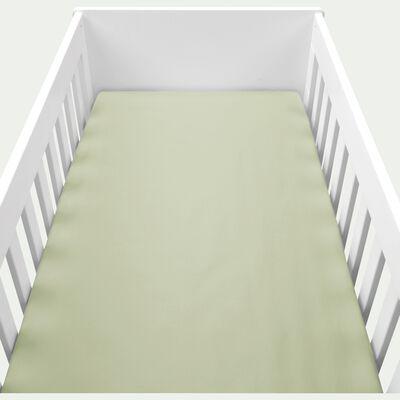 Drap housse en percale de coton lavé 60x120cm vert olivier-PALOMA