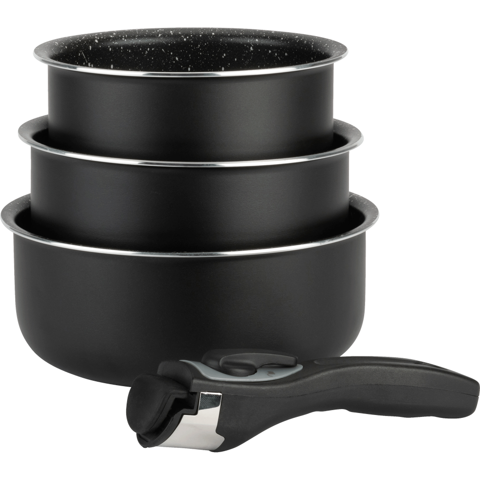 lot de 3 casseroles en aluminium avec manche amovible tous feux dont induction vitori. Black Bedroom Furniture Sets. Home Design Ideas