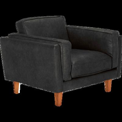 Fauteuil en cuir de vachette noir-BROOKLYN