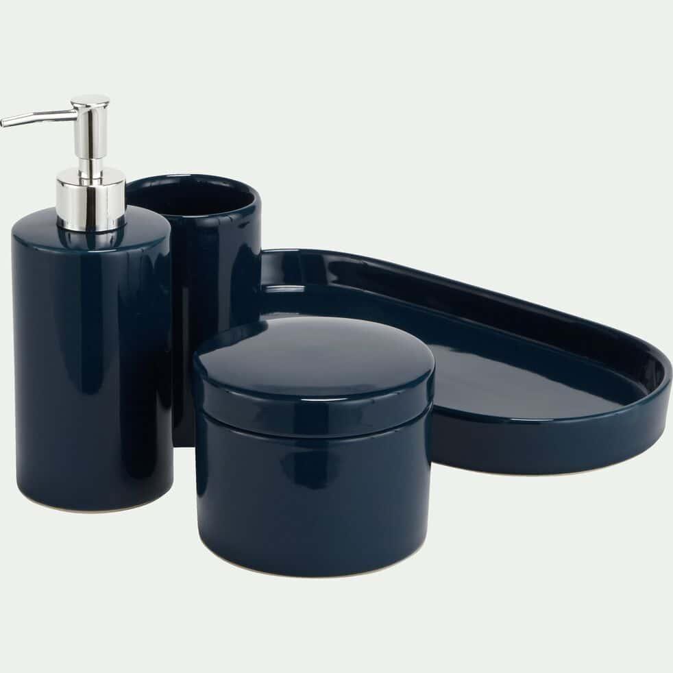 Distributeur de savon en grès - bleu myrte H19,5cm-PROSPER