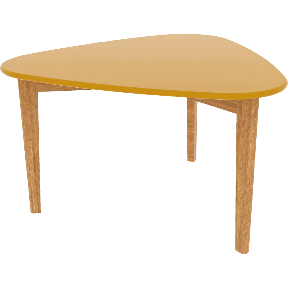 table basse triangulaire jaune avec pieds en ch ne siwa tables basses alinea. Black Bedroom Furniture Sets. Home Design Ideas