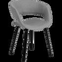 Chaise en tissu gris borie et pieds noirs avec accoudoirs-JOYAU
