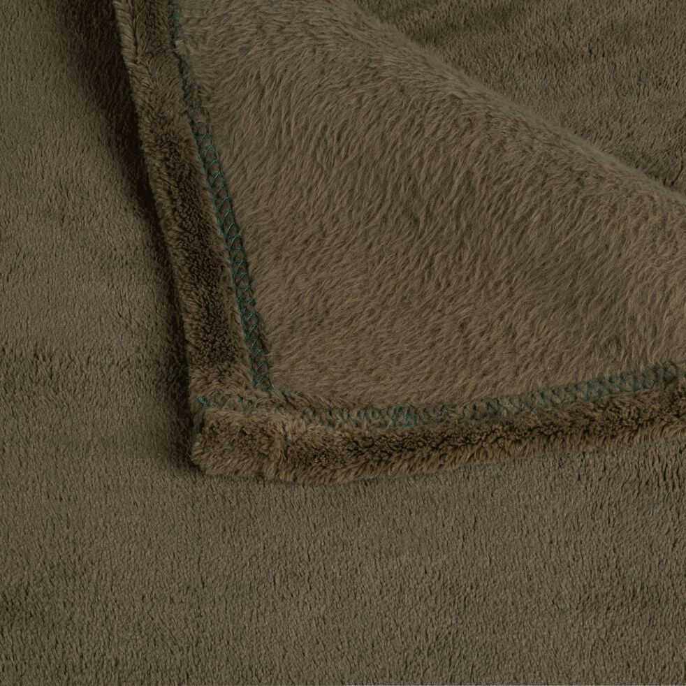 Plaid effet polaire en polyester - vert cèdre 230x250cm-ROBIN