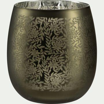 Vase en verre motif Jasmin - vert cèdre H8,5cm-LEMNOS