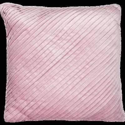 Coussin plissé en velours rose 40x40cm-ALICE