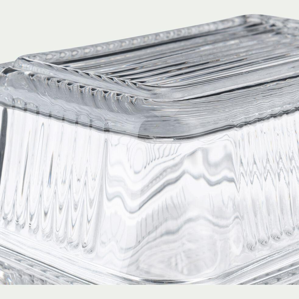 Beurrier en verre côtelé - transparent L17cm-BICOU