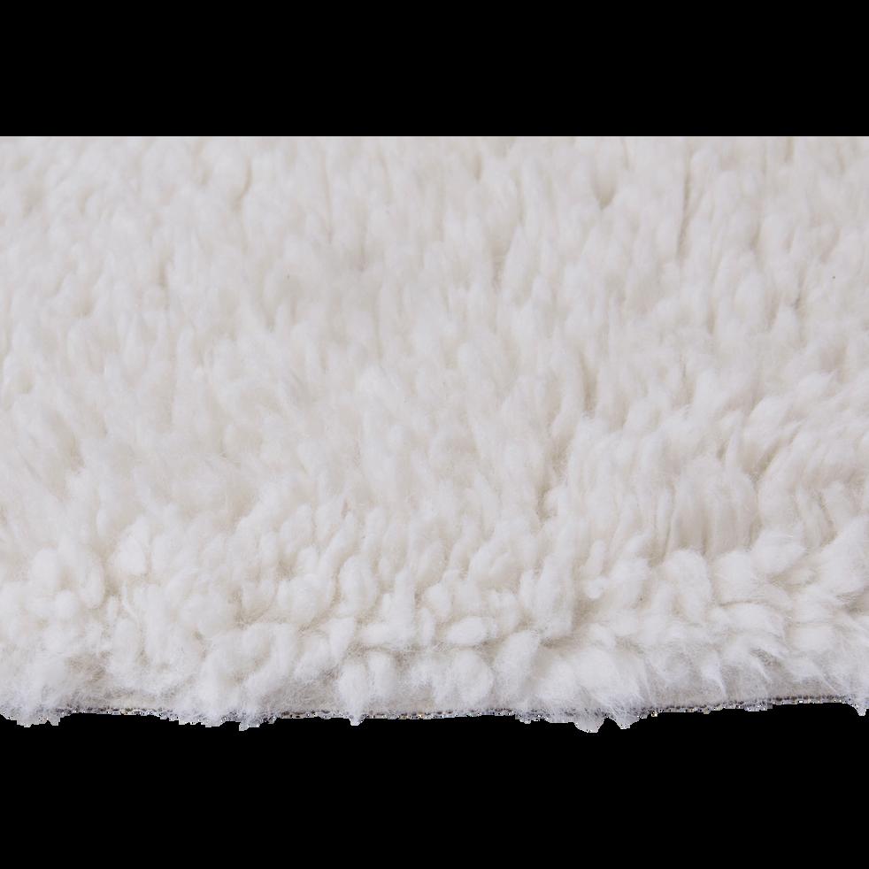 Tapis sherpa rond uni D120cm blanc ventoux-AURORE