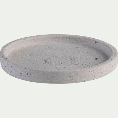 Plateau rond effet béton en polystone - gris D13cm-CALCIS