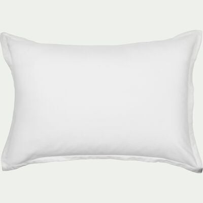 Lot de 2 taies d'oreiller rayées en satin - blanc capelan 50x70cm-SANTIS