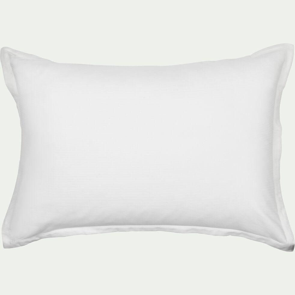 Lot de 2 taies d'oreiller rayées en satin de coton - blanc capelan 50x70cm-SANTIS