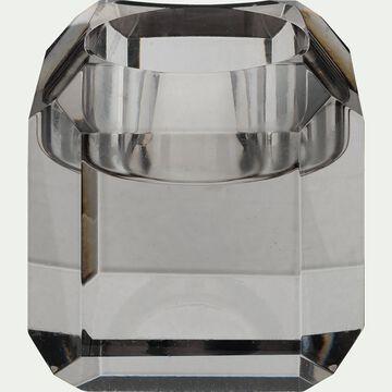 Bougeoir en verre - argenté D6xH6cm-ANTONIN