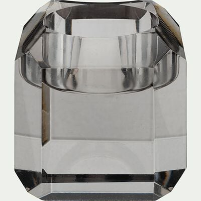 Bougeoir en verre argenté D6xH6cm-ANTONIN