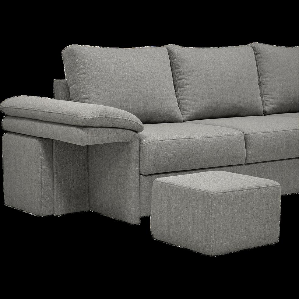Canapé d'angle réversible convertible en tissu gris clair et 4 poufs-CHARLES